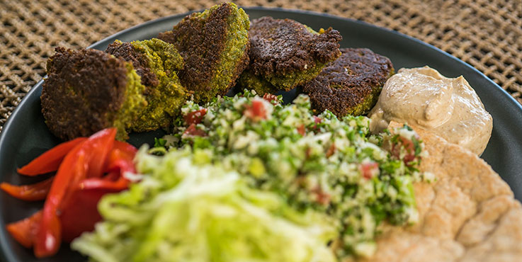 homemade falafels on plate with salad and pita bread
