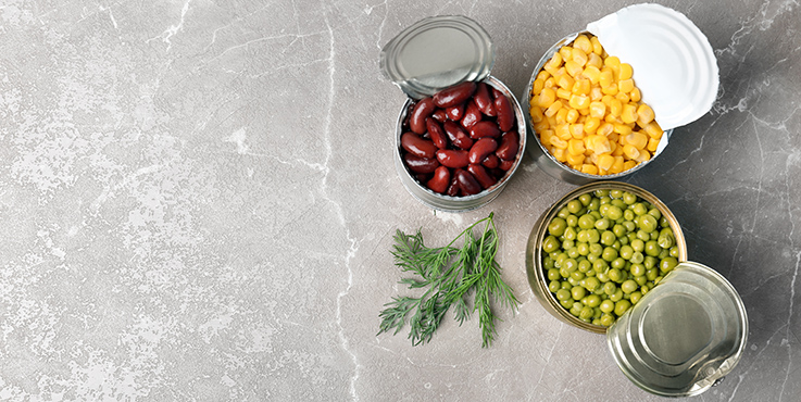 kidney beans, sweet corn and peas in cans