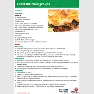 Label the food groups teaching resource