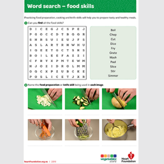 Food skills word search school resource