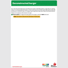 Deconstructed burger activity sheet for students