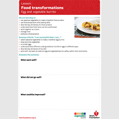 Food transformations: Egg and vegetable burrito evaluation teaching resource