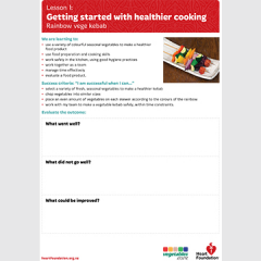 Getting started with healthier cooking: Rainbow vege kebab evaluation teaching resource