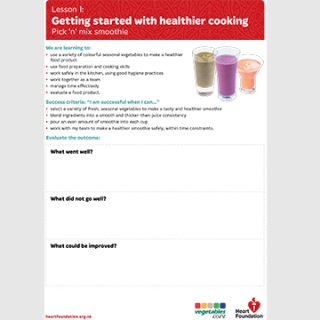 Getting started with healthier cooking: Pick 'n' mix smoothie evaluation teaching resource