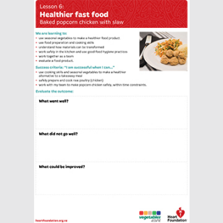 Healthier fast food evaluation teaching resource