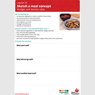 Sketch a meal concept evaluation teaching resource