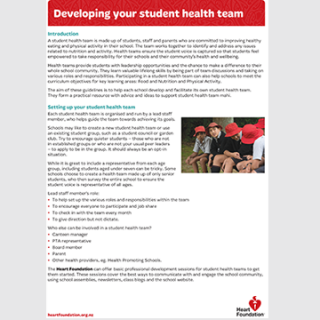 Small preview image of the first page of the developing a student health team guidelines