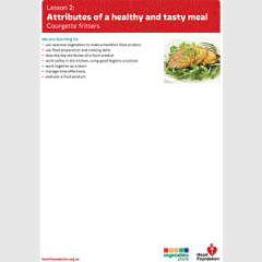 Attributes of a healthy and tasty meal lesson plan teaching resource