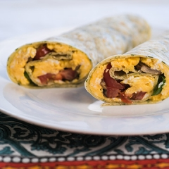 Egg and vegetable burrito recipe video teaching resource