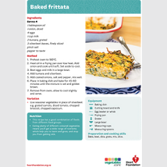 Baked Frittata recipe teaching resource