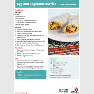 egg veg burrito recipe teaching resource
