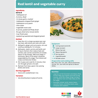 red lentil curry recipe teaching resource