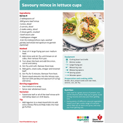 savoury mince lettuce recipe teaching resource