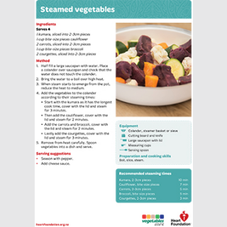 steamed vege recipe teaching resource