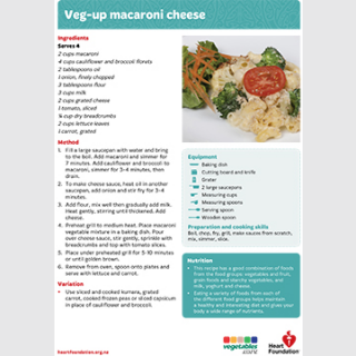veg macaroni cheese recipe teaching resource