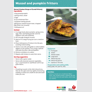 Mussel and pumpkin fritters recipe