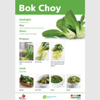 Bok choy skill card recipe teaching resource