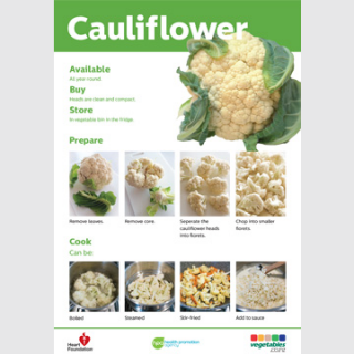 Cauliflower skill card recipe teaching resource