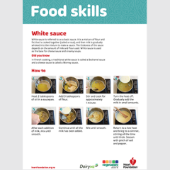 Make a basic white sauce skill card