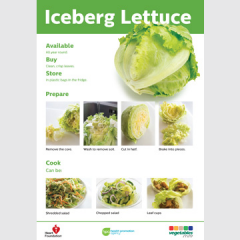 Iceburg lettuce skill card recipe teaching resource