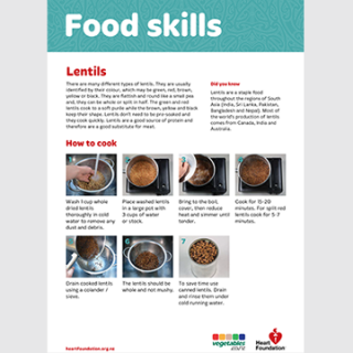 How to cook lentils skill card