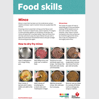 How to dry fry mince skill card