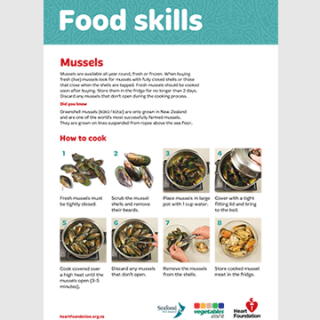 How to cook mussels skill card