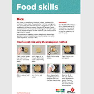 Rice food skill card - how to cook rice