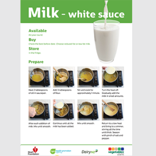 White sauce cooking skill cards resource