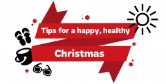 Red ribbon with white text saying 'Tips for a stress free Christmas'. Surrounded by an icon of the sun, a bucket, sunglasses, jandals and sunglasses