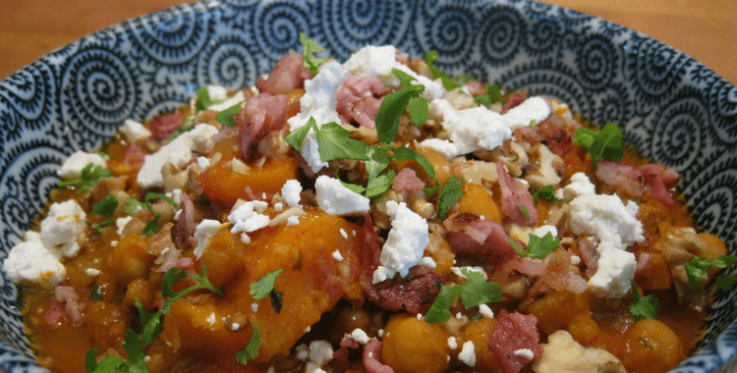 Bacon, chickpea and pumpkin stew with feta and coriander