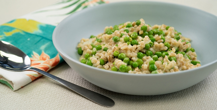 Pea and barley risotto