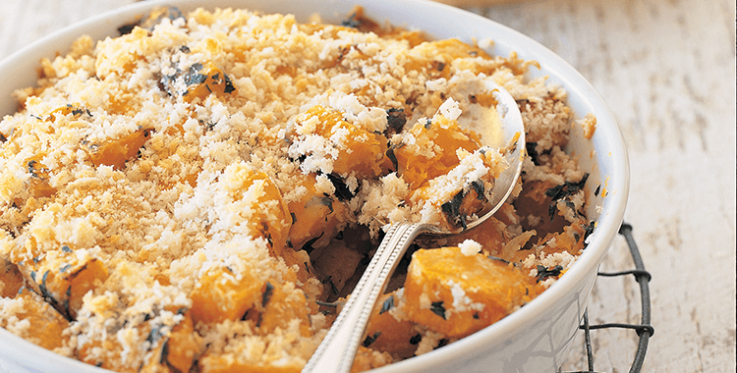 butternut pumpkin gratin with cheese and breadcrumb topping