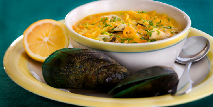 Healthy seafood chowder using mussles