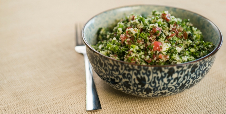 Cauliflower tabbouleh in bowl
