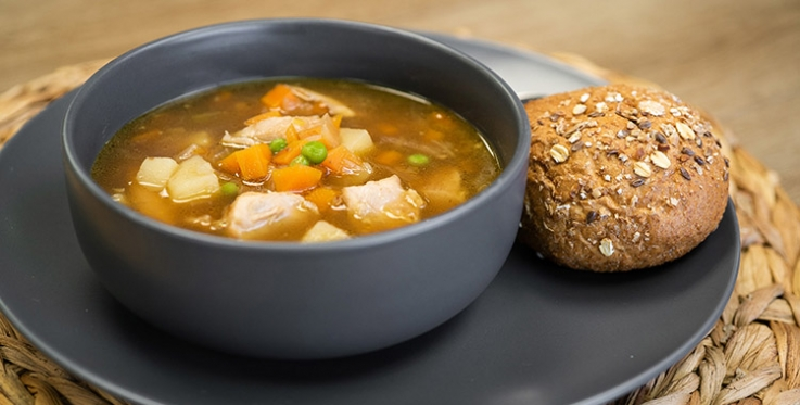 chicken and vegetable soup with whole grain bun