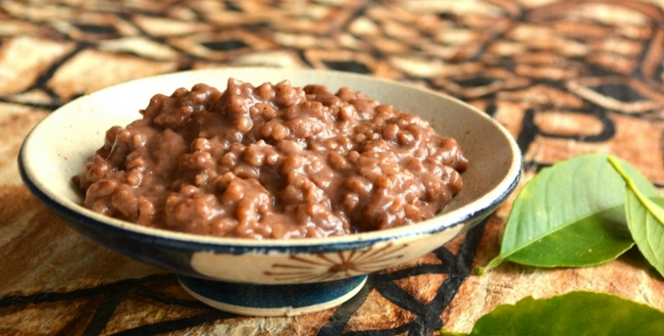 Samoan cocoa rice served in a bowl