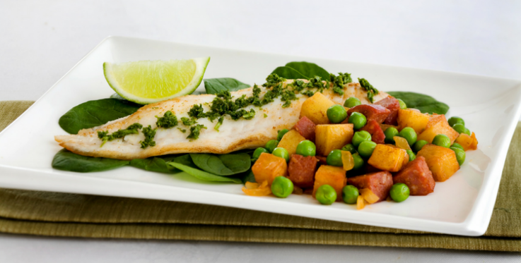 Visual of fish with potato, peas and chorizo
