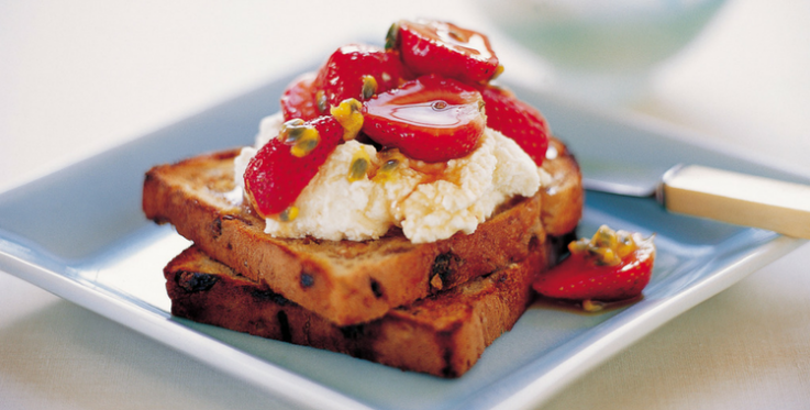 fruit bread toast with ricotta strawberries and passionfruit