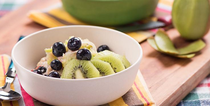 Granpa BB's bircher muesli topped with blueberries and kiwifruit