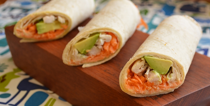 wraps with chicken hummus avocado and carrots