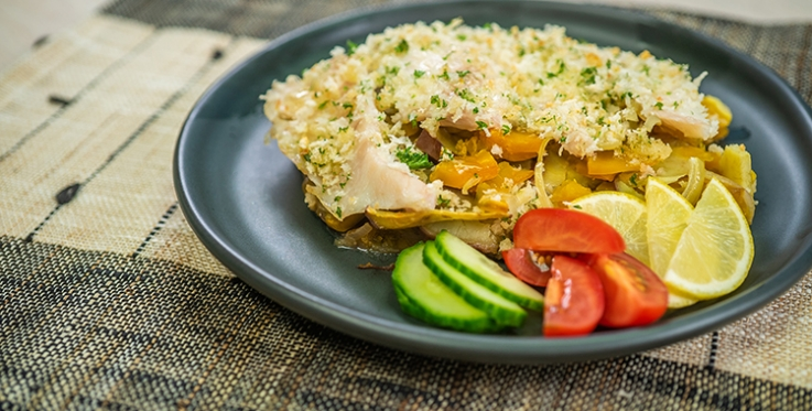 Kumara & pumpkin bake with lemon crusted fish