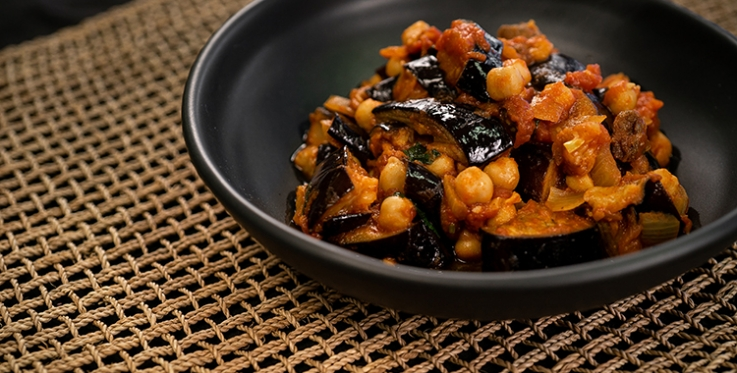 rich and delicious eggplant and chickpea stew