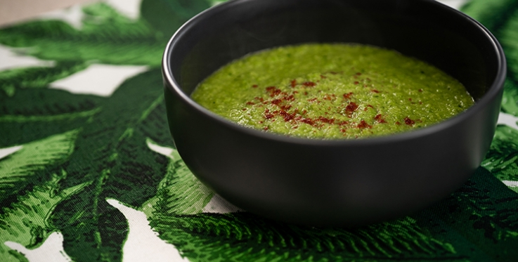 fresh and vibrant minted pea soup