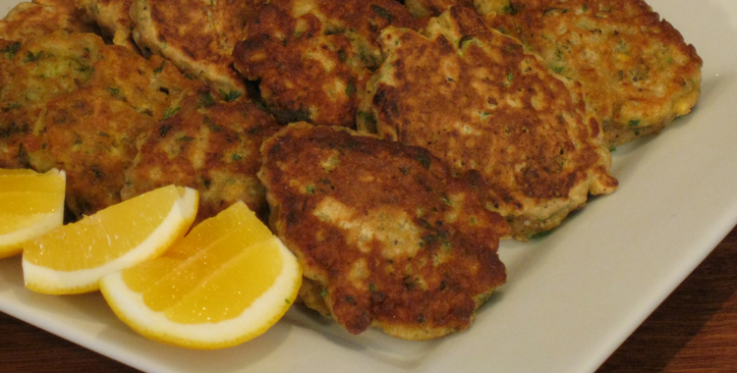 mussel fritters with lemon slices