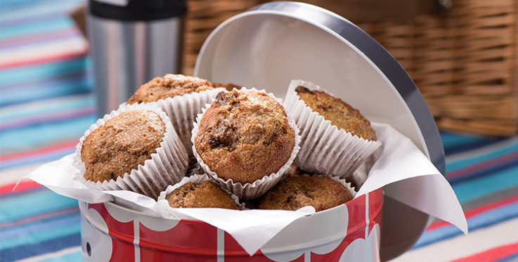 bran muffins with dates in a tin