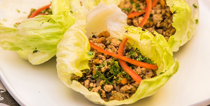 Chinese spiced pork and vegetables in a lettuce cup