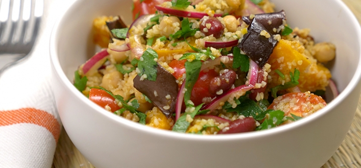 Pumpkin, eggplant and bean salad