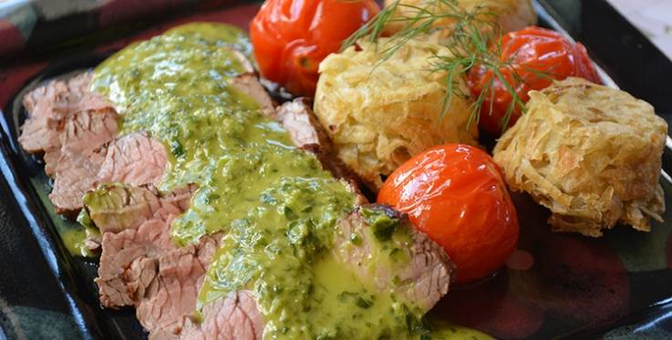 Roast beef recipe with hash browns and emerald sauce