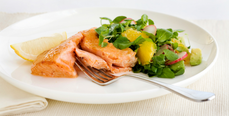 Visual of smoked salmon with avocado and orange
